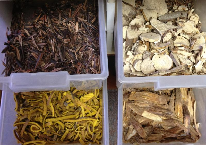Dried Chinese herbs are made into formulas for each patient's unique condition.